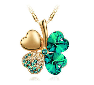 Free Shipping Factory Wholesale Price 18K GP Austrian Crystal Clover 10 colors mixed 4 Leaf Leaves pendant Necklace jewelry 9554 - Cerkos  - 11