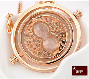 Hot Sale Harry Potter Time Turner Necklace Hermione Granger Rotating Spins Gold Hourglass - Cerkos  - 4