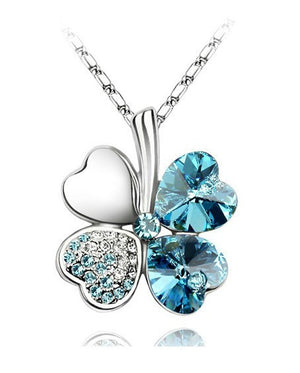 Free Shipping Factory Wholesale Price 18K GP Austrian Crystal Clover 10 colors mixed 4 Leaf Leaves pendant Necklace jewelry 9554 - Cerkos  - 7