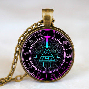 Steampunk Drama Gravity Falls Mysteries BILL CIPHER WHEEL Pendant Necklace glass doctor who chain 1pcs Glass men Pendant jewelry - Cerkos  - 20