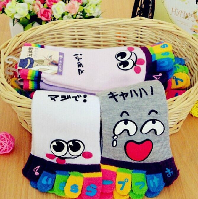 Wiggle Sock Fashion Five toe sock women Sweet Girl type (Hello Kitty cat / Bear / Striped / Surprise / leopard cat ) short socks - Cerkos  - 19