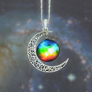 Brand Fashion Jewelry Choker Necklace Glass Galaxy Lovely Pendant Silver Chain Moon Necklace & Pendant - Cerkos  - 9