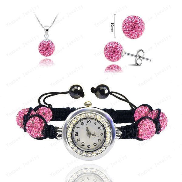 Fashion Watch Crystal Shamballa Set Crystal Pendant+Bracelet+Crystal Earring Jewelry Set 10MM Disco Ball Free Shipping - Cerkos  - 11