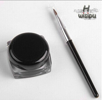 New Cosmetic Waterproof Eye Liner pencil make up black liquid Eyeliner Shadow Gel Makeup + Brush Black