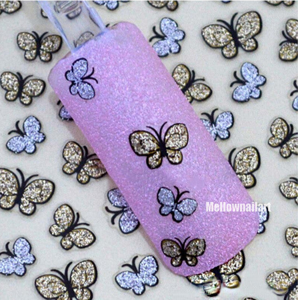 3D Butterfly Nail Art Shinning Stickers DIY Nail Sticker Nail Art Accessories - Cerkos.com