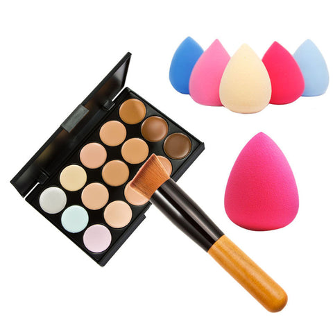 15 Color Concealer Palette +  Wooden Handle Brush + Teardrop-shaped Puff Makeup Base Foundation Concealers Face Powder - Cerkos.com
