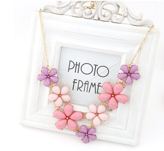 2015 Big Flower Choker Necklace Pink Blue Colorful Glod Chain Plant Resin Statement Necklaces&Pendant For Women Fashion Jewelry - Cerkos.com
