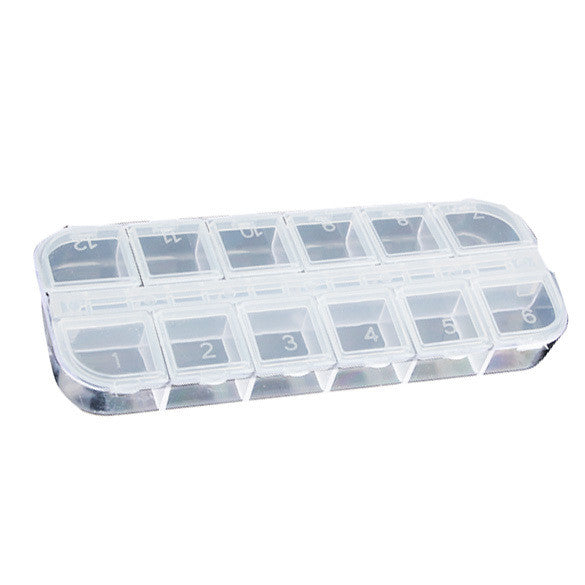 12 Detachable Clear Plastic Divided Storage Box  Home Nail Art Empty Divided Boxes Rhinestone Storage Case E2shopping - Cerkos.com