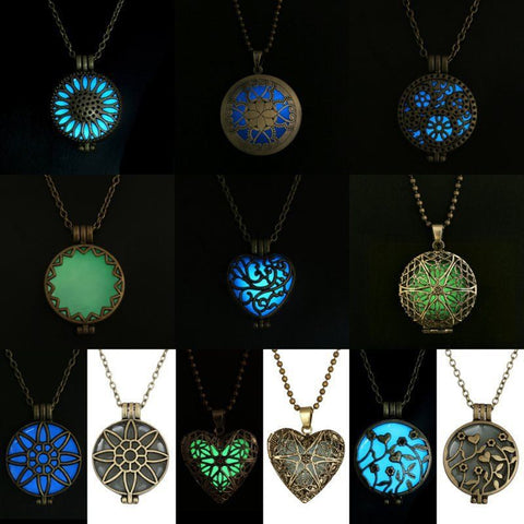 Steampunk Pretty Magic Round Fairy Locket Glow In The Dark Pendant Necklace Gift Glowing Luminous Vintage Necklaces Random color - Cerkos  - 1
