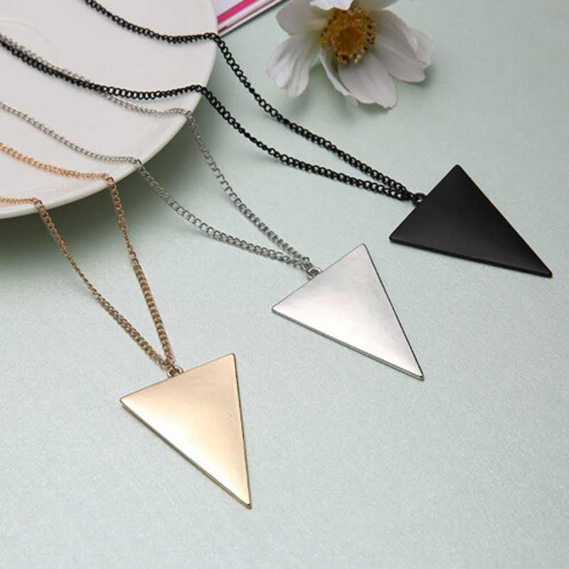 1PCS Women Winter Punk Triangle Pendant Long Chain Costume Sweater Necklace Silver Gold Black Color Free Shipping - Cerkos.com