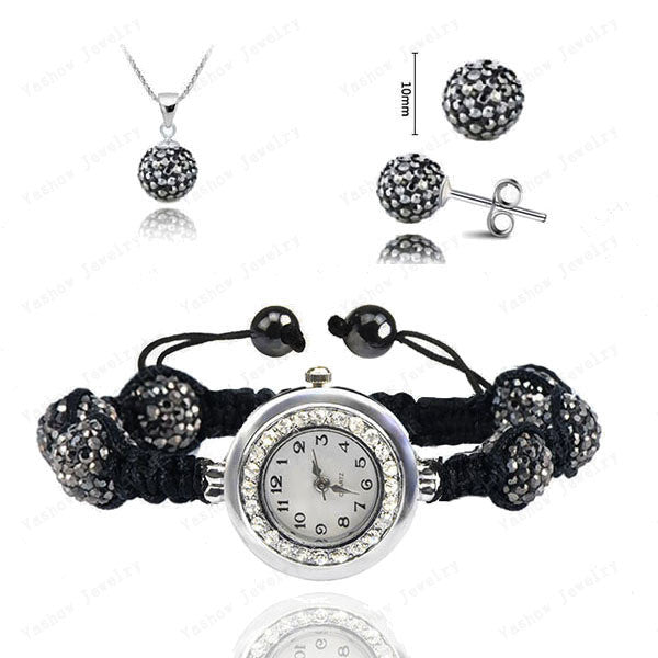 Fashion Watch Crystal Shamballa Set Crystal Pendant+Bracelet+Crystal Earring Jewelry Set 10MM Disco Ball Free Shipping - Cerkos  - 16
