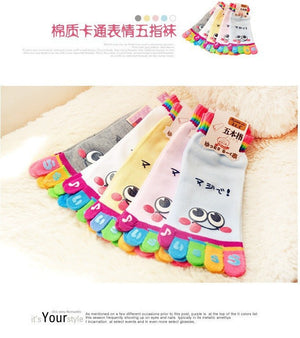 Wiggle Sock Fashion Five toe sock women Sweet Girl type (Hello Kitty cat / Bear / Striped / Surprise / leopard cat ) short socks - Cerkos  - 22
