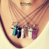 Artilady multi color quartz necklaces Pendant Necklace chain crystal necklace women jewelry accessories - Cerkos.com