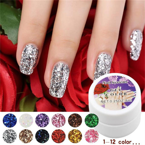 12 Colors Optional 1PCS retail Hot Sale Nail UV Gel Color For Nail Art Decoration Sequin Design Set - Cerkos.com