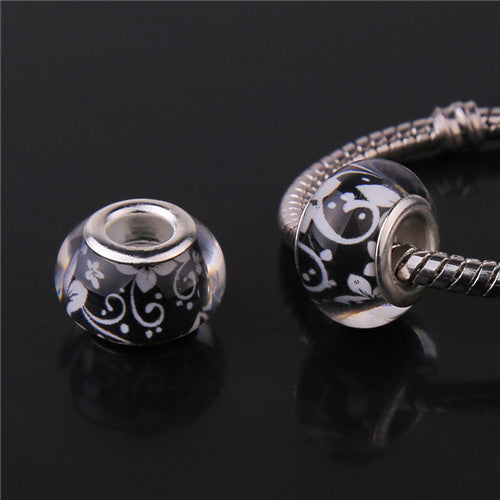 Cerkos.com: 14MM Acrylic European Charms Beads Sterling Silver Cord Big Hole Loose Bead Fit Murano Pandora Bracelet & Bangle Jewelry Finding