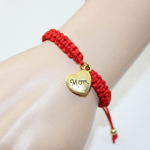 Mother's Gift 2016 New Fashion Braided Red String Love Heart Mom Mum Charm Bracelet On Mother's Day Women Pulseras