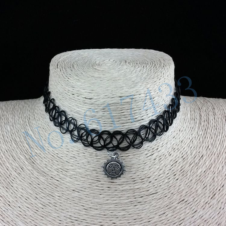 Handmade Hot Selling Vintage Stretch Tattoo Choker Necklace Gothic Punk Grunge Henna Elastic with Pendant Necklaces - Cerkos  - 10