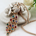 601   Big Size Hot New Fashion Trendy Peacock Long Colorful Crystal  Necklaces & Pendants For Women    N3600 - Cerkos.com
