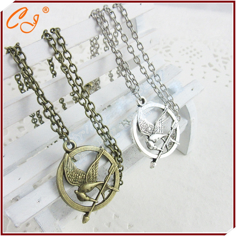 Alloy Charms Mockingbird Jay Bird Arrow Movie Hunger Games 1 Pendant Necklace Jewelry Making Necklace - Cerkos.com