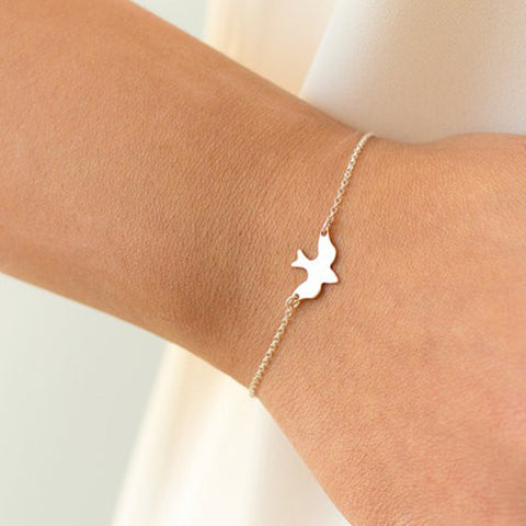Tiny Peace Dove Bracelet Soar Flying Birds Bracelet Little Cute Swallow Baby Bird Bracelets Abstract Bracelets