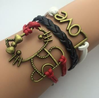 AB076 Fashion jewelry leather Double infinite multilayer bracelet factory price wholesales - Cerkos  - 18