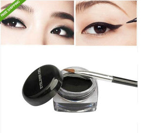 1Pcs Hot Sale Black Waterproof Eye Liner Eyeliner Gel Makeup Cosmetic + Brush Makeup Set - Cerkos.com