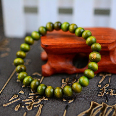 Stretchy green wood beads bracelets candy colors round beads bracelet