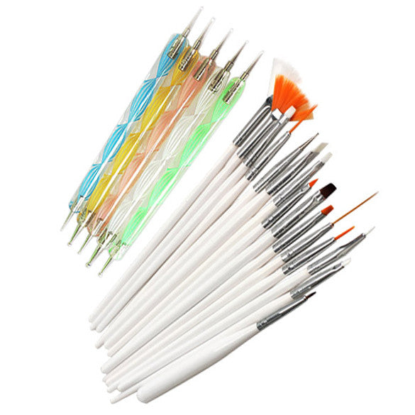 20pcs Nail Art Design Set Dotting Painting Drawing Polish Brush Pen Tools Nail Polish Art Brush - Cerkos.com