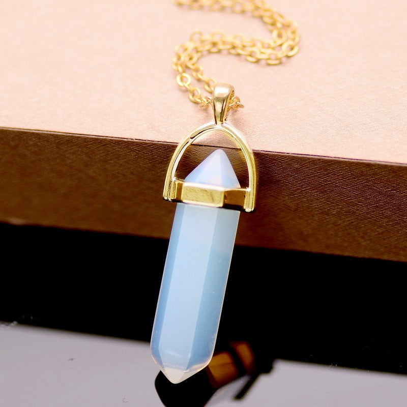 18 Colors Summer Style Bullet Natural Stone Amethyst Necklace For Women Turquoise Crystal Gem Stone Pendant Statement Necklaces - Cerkos.com