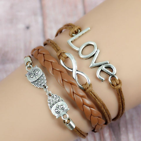 Cerkos.com: Multilayer Braided Bracelets , Vintage Owl Harry Potter wings infinity bracelet, Multicolor woven leather bracelet & Bangle - Cerkos.com