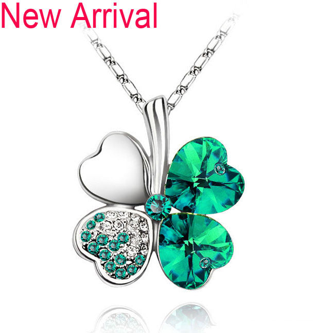 Free Shipping Factory Wholesale Price 18K GP Austrian Crystal Clover 10 colors mixed 4 Leaf Leaves pendant Necklace jewelry 9554 - Cerkos  - 13