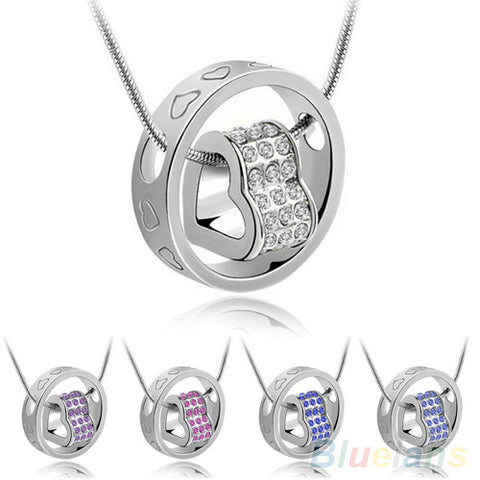 Women's Fashion Crystal Chain Rhinestone Gift Love Heart  Pendant Necklace 1QAN - Cerkos  - 1
