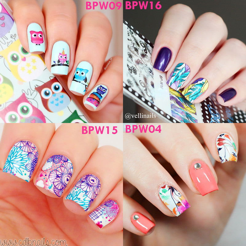 2 patterns/sheet BORN PRETTY Nail Water Decals Flower Leaf Animal Feather Designed Transfer Stickers Nail Art Sticker BP-W01-20 - Cerkos.com
