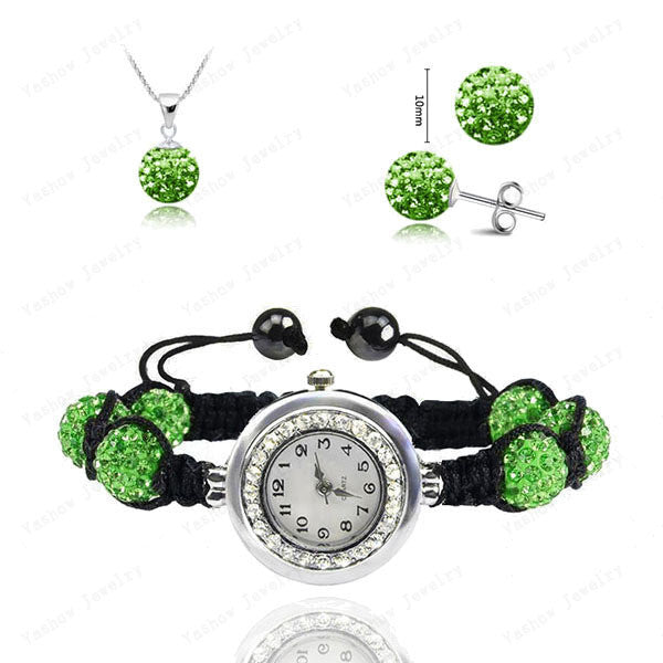 Fashion Watch Crystal Shamballa Set Crystal Pendant+Bracelet+Crystal Earring Jewelry Set 10MM Disco Ball Free Shipping - Cerkos  - 20
