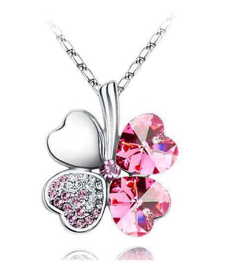 Free Shipping Factory Wholesale Price 18K GP Austrian Crystal Clover 10 colors mixed 4 Leaf Leaves pendant Necklace jewelry 9554 - Cerkos  - 12