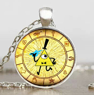 Steampunk Drama Gravity Falls Mysteries BILL CIPHER WHEEL Pendant Necklace glass doctor who chain 1pcs Glass men Pendant jewelry - Cerkos  - 19