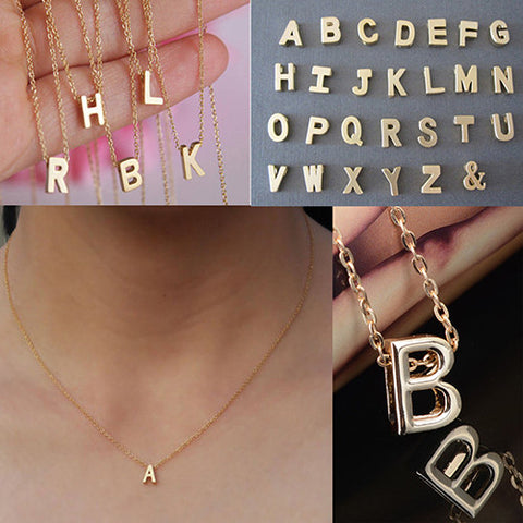 Women's Metal Alloy DIY Letter Name Initial Link Chain Charm Korean style Necklace - Cerkos