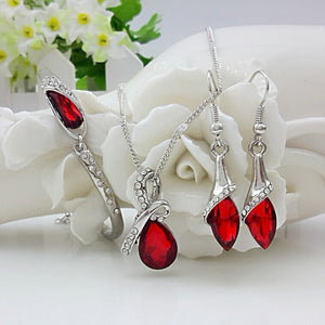 Free Shipping New 2014 Crystal Jewelry Sets Pendants & Necklaces Stud Earring Bracelet Bangles Silver Chain Plated For Women - Cerkos  - 7