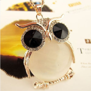 2015 New High Quality Fashion Crystal Necklaces Cute Rhinestone Gem CZ Diamond Owl Long Necklaces&Pendants Sweater Chain A178 - Cerkos.com