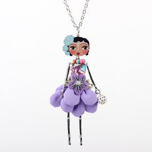 Bonsny doll necklace dress coral trendy new 2015 acrylic alloy cute girl women flower figure pendant fashion jewelry accessories - Cerkos  - 2