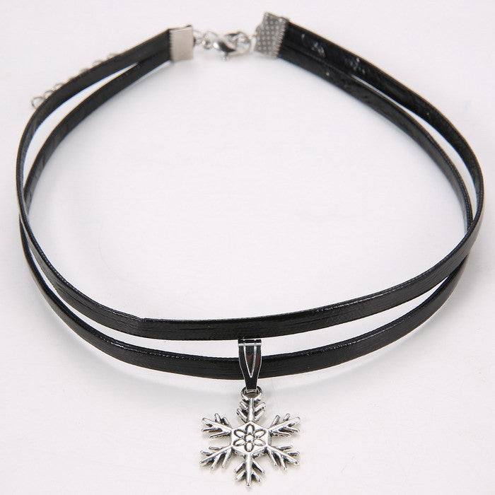 Celebrity Double Layer Black  Leather Choker Necklace Gothic Adjustable Chain  Charm Pendant Vintage Jewelry - Cerkos  - 5