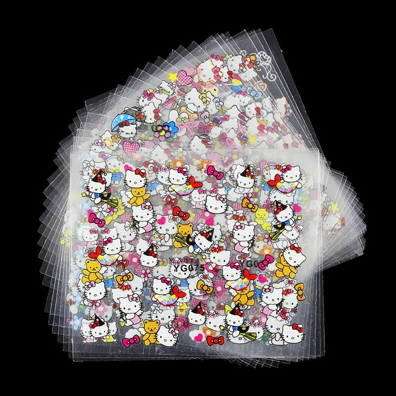 24 Manicure Designs Colorful Hello Kitty Nail Stickers, Nails DIY Beauty Decorations Tools For 3D Nail Art JH156 - Cerkos.com