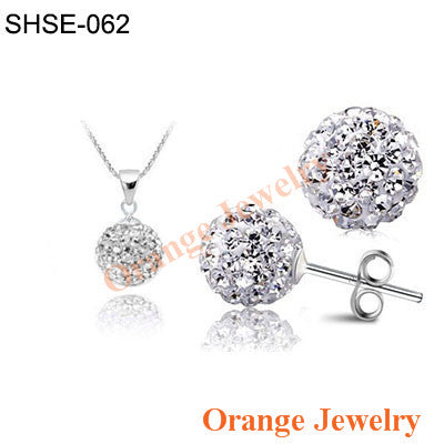 Fashion Crystal Shamballa 10mm CZ Disco Pave Crystal Ball Pendant Necklace+Stud Earrings+Silver Chains Mix Options Free Shipping - Cerkos.com