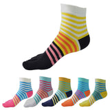 Wiggle Socks Creative Fashion Stripe Middle Tube Socks Women Stripe Cotton Casual Socks Daily Sports GYM Five Toe Socks - Cerkos  - 21