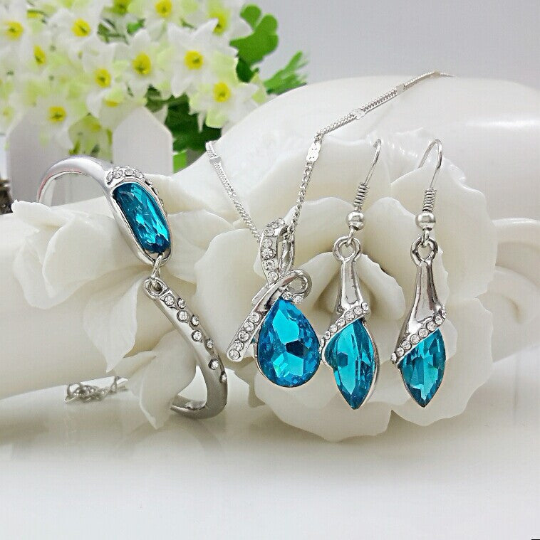Free Shipping New 2014 Crystal Jewelry Sets Pendants & Necklaces Stud Earring Bracelet Bangles Silver Chain Plated For Women - Cerkos  - 2