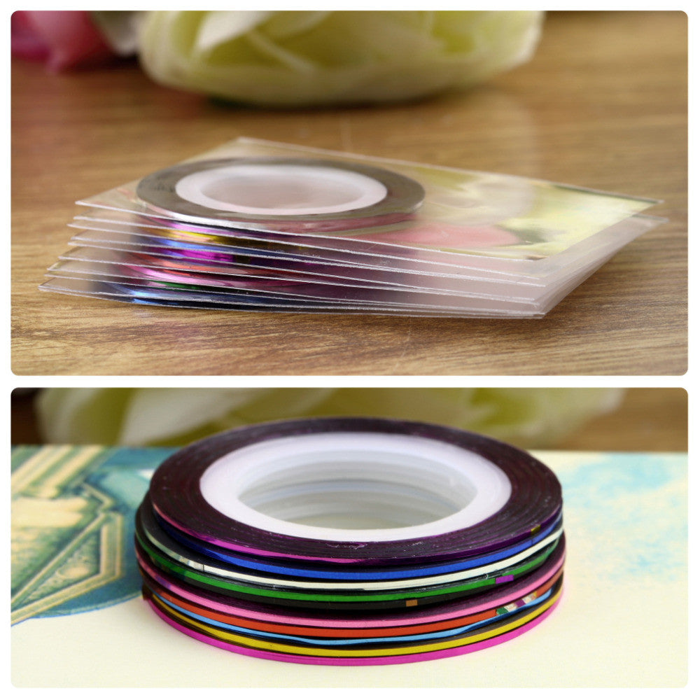 10Pcs/set Mixed Colors Rolls Striping Tape Line DIY Nail Art Tips beauty Decoration Sticker Nails Care Art Accessories - Cerkos.com