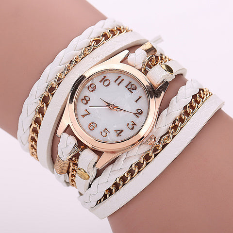 Retro Vintage Women Gold Dial Dress Watches Leather Strap Quartz Wrist Watches - Cerkos  - 1