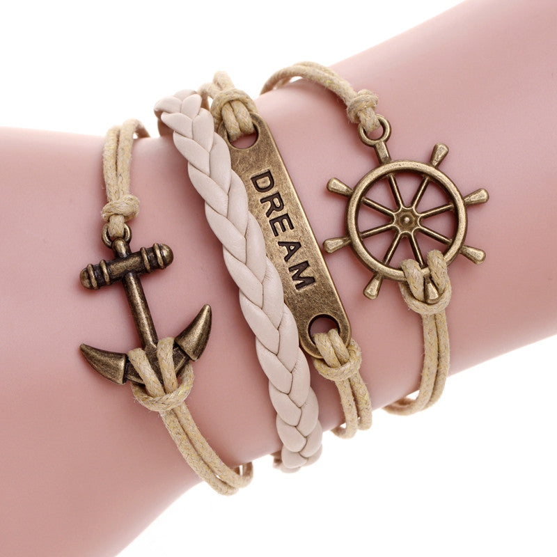 fashion Leather bracelet anchor charm bracelet for dream homme pulseira couro love silver bracelets for women jewelry pulsera