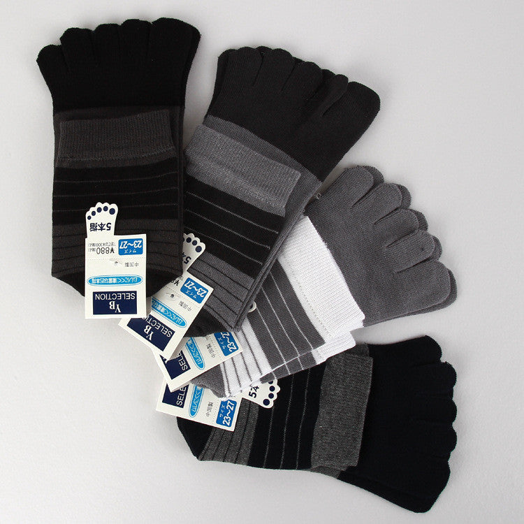 2015 Hot Sale Wholesale Stripe Men's Cotton Five Fingers Toe Socks 5 fingers socks Stockings 10pieces=5 Pairs/lot Free Shipping - Cerkos.com