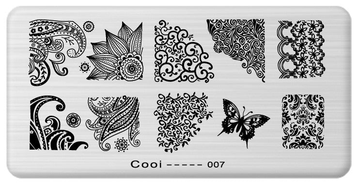 1pcs Latest Nail Template Cooi Series Nail Art Plate Stainless Steel Image Konad Nail Art Stamping Template DIY Nail Tool JH114 - Cerkos.com